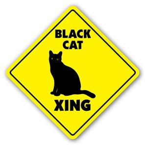 BLACK CAT CROSSING Sticker xing gift novelty kitty cats kittens witch (Halloween Cats Names)