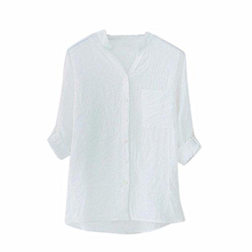 Bouton Solide L4 Femmes shirt Dcontracte Solide Vtements Coton Femmes Mode Blouse Blanc Chemise Longues Kaki T Yanhoo De Dames Tops Manches Bas Stand D't Chemise Occasionnels Tops qERaASnww