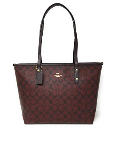 Coach Signature City Zip Tote Bag Handbag (Oxblood)