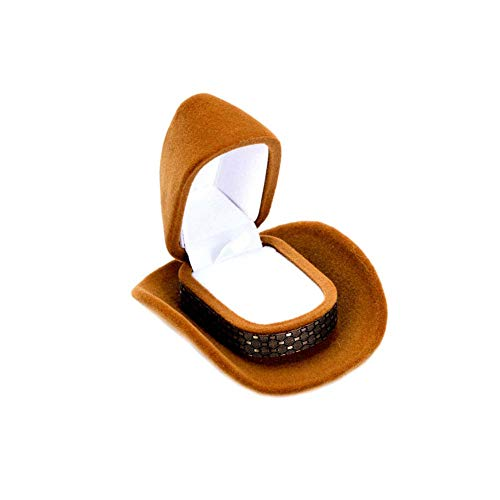 Yamde Cowboy Hat Shape Rings Boxes Velvet Brown Jewelry Display Storage Case