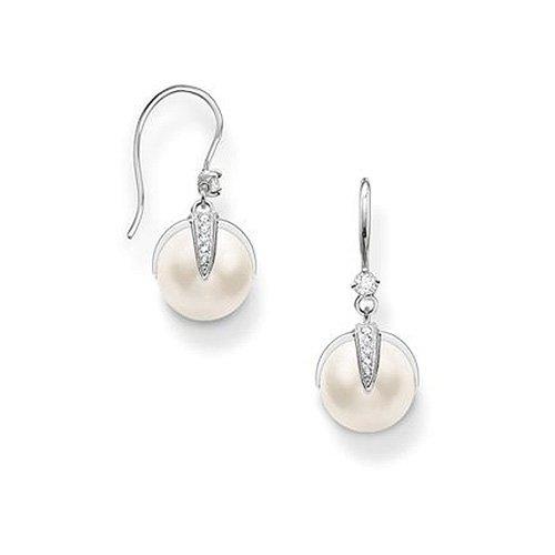 100% Qualität eine große Auswahl an Modellen 2019 heißer verkauf Thomas Sabo Damen-Durchzieh Ohrringe Glam & Soul Brisur 925 Silber Zirkonia  transparent Perle - H1850-167-14