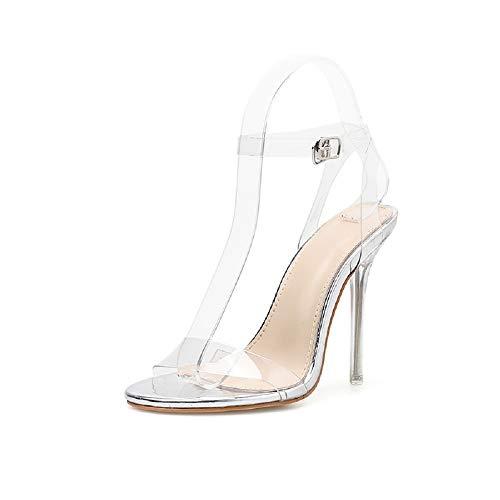 Sandalias De Pegamento Para Alto Silver Con Escocés Mujer Y Fengjingyuan Sexy Zapatos Tacón fd6vwqSt