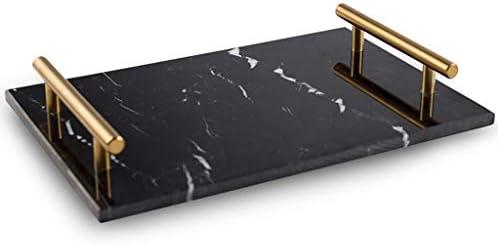 キッチン、バスルーム、コーヒーショップ用の自然な長方形の大理石のトレイと金色の金属製ハンドル、11.8x7.8インチ,黒