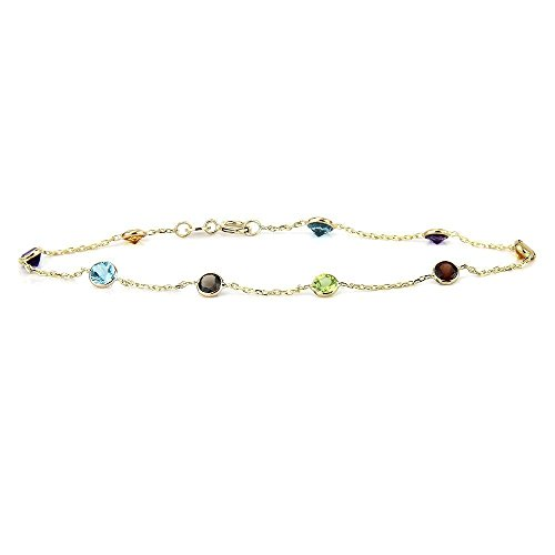 (14k Yellow Gold Handmade Station Bracelet With Round 4mm Gemstones)
