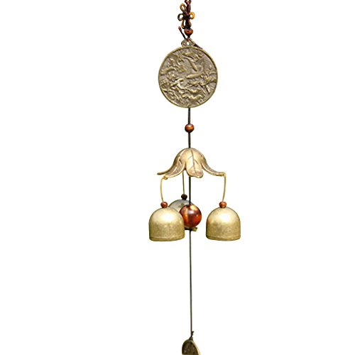 MagiDeal Chinese Fish Lotus Pond Metal Bell Lucky Feng Shui Hanging Charm Wind Chime