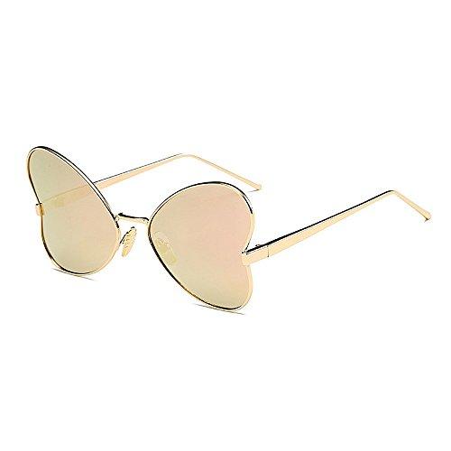 UV sol de Marco sol con conducir de sol de sol Gafas estilo de Color Mariposa borde con de Gafas Protección para polarizadas Gafas señora Gafas mujer para de irregular Personalidad Rosado metal Negro 514q0nEwy