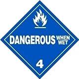 Dangerous When Wet - 10.75'' x 10.75'' Vinyl DOT HazMat Placard (Pack of 25)