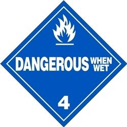 Dangerous When Wet - 10.75'' x 10.75'' Vinyl DOT HazMat Placard (Pack of 25) by HCL