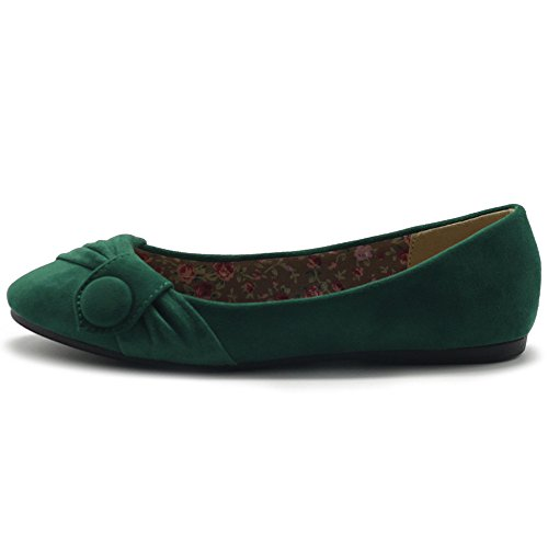 Faux Flat Women's Ballet Suede Shoe Decorative Green Ollio Button PcOqB11E