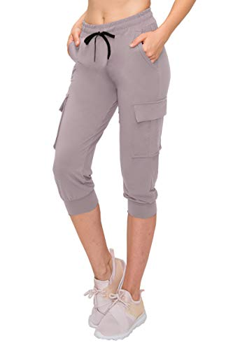 ALWAYS Women Capri Jogger Pants - Lightweight Skinny Solid Soft Stretch Drawstrings Pockets Cargo Sweatpants Lilac Grey S/M ()