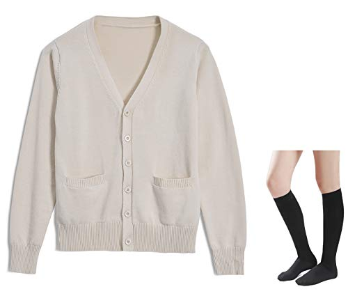 Long Sleeve deep V-Neck Knitted Button up Cardigan Sweater Anime Japanese School Girl Uniform with Socks Set(Light Apricot XS) -