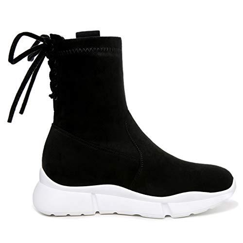Autunno Microfibra Stivali Donna Elasticizzata Calzamaglia Plateau Yan Scarpe Un Con amp; Stringate Primavera Sportive Sneakers Da Alte pqtfYwP4T
