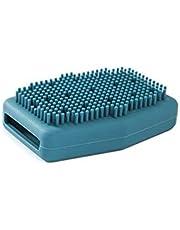 Baby siliconen shampoo borstel, hoofdhuid, badborstel, baby massage shampoo borstel, geschikt voor droge huid, baby's, kinderen (blauw)