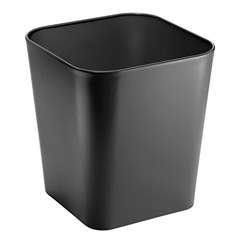 mDesign Metal Square Small Trash Can Wastebasket, Garbage Container Bin for Bathrooms, Powder Rooms, Kitchens, Home Offices - Solid Steel Construction in Black