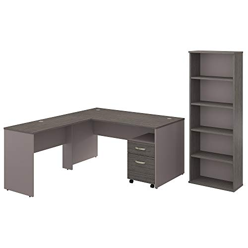 (Bush Furniture Commerce 60W L Shaped Desk with Mobile File Cabinet and Bookcase in Cocoa and Pewter)