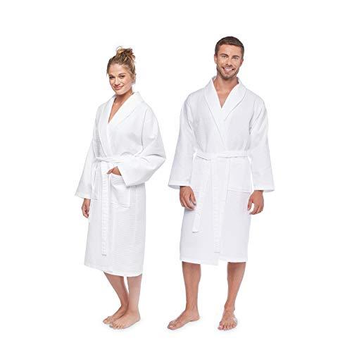 Linum Home Textiles 100% Turkish Cotton Unisex Waffle Weave Bathrobe, White, Large/XL