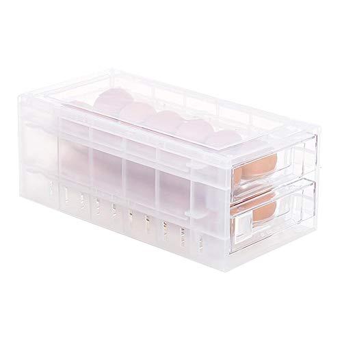 Luerme EggStorageRackEgg Holder for Refrigerator Double-Layer24GridJapaneseHigh-GradeAnti-CollisionStorageBox Tray withLidandDrawerSuperimposedKitchenOrganizer Container