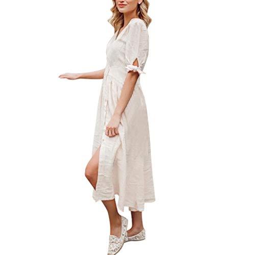 Women's Skirt, Ladies Holiday Summer Dots Print Dresses Sleeveless Party Beach Dress White ()