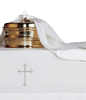 Linen Cover Communion Table - Religious Supply 2-Piece Communion Linen Set with Cross
