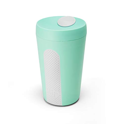 (HIP 12-oz Reusable Travel Coffee Cup Shatterproof BPA Free Plastic Top-rack Dishwasher Safe (Mint and Cloud))