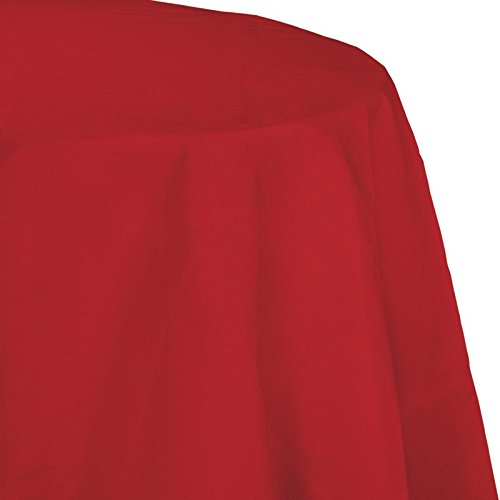 Club Pack of 12 Classic Red Disposable Tissue and Poly Octy-Round Picnic Party Table Covers 82
