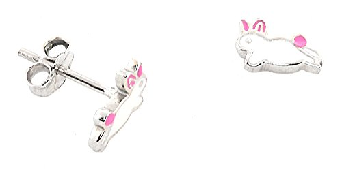 Price comparison product image Sterling Silver Pink Epoxy Inlay CHILDREN'S Stud Earrings (EASTER BUNNY)