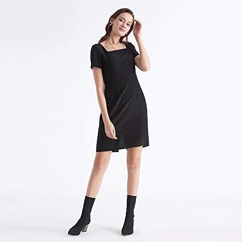 Sonderangebot Schwarze Partykleider U Seide Kleider Cocktailkleider Schlicht Schwarz Seidenkleider LilySilk ausschnitt RF6tq0w0