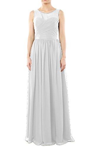 Long Formal Gown Chiffon Neck MACloth Bridesmaid Party Dress O Women's Weiß Evening nxqvqawS