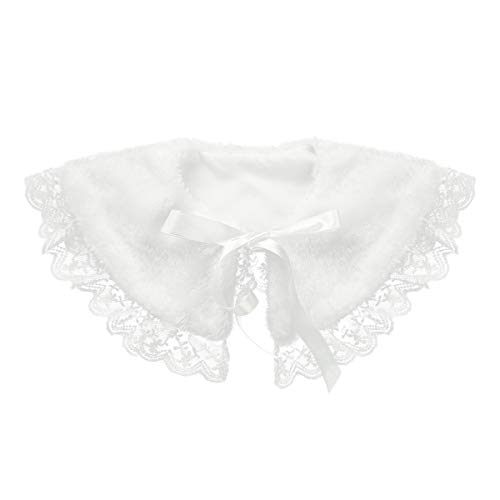 (iEFiEL Girls Faux Fur Ribbon Ties Flower Dress Bolero Shrug Princess Cape White Faux Fur 2-3)