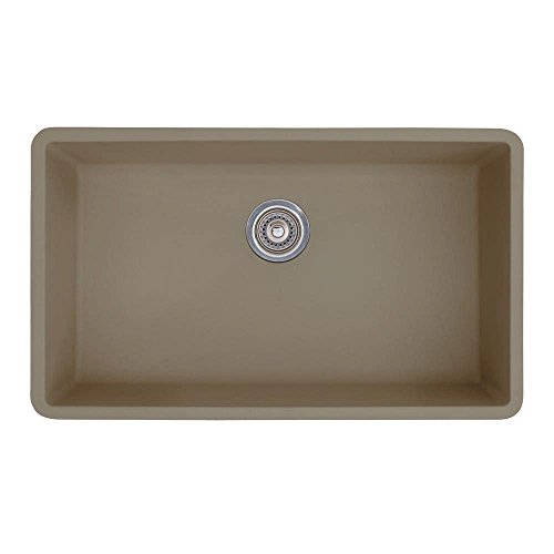 Blanco Precis 441297 Super Single Bowl SILGRANIT 80% Granite Undermount Kitchen Sink, Truffle, 32