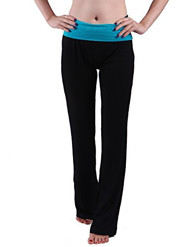 HDE Women's Color Block Fold Over Waist Yoga Pants Flare Leg Workout Leggings (Medium, Teal)