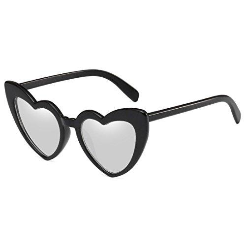 de Gafas Sunglasses Blanco Negro Retro Inlefen Heart mujer Shaped UV400 Eyewear Moda lindo sol Oversized 5FgnnzTdqw