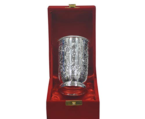 - Indian Accent Silver Plated Brass Water & Soft Drink Glasses 4 Inches from (Set of 1)