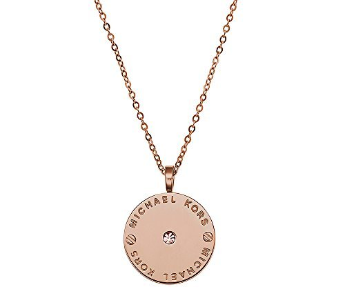 Michael Kors Rose Goldtone Logo Plate Disc Pendant Necklace with Goldtone Quartz Cubic Zirconia