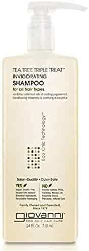 Giovanni Invigorating Tea Tree Shampoo - Triple Treat Strengthening, Conditioning, and Clarifying Daily Formula 24 Fl Oz (Pack of 1)