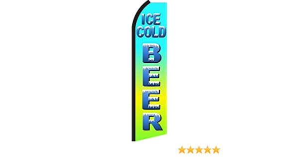 ICE COLD BEER Green Advertising Sign Swooper Feather Flutter Banner Flag Only