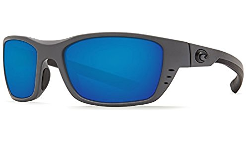 Costa Whitetip Sunglasses & Cleaning Kit Bundle Matte Gray / Blue Mirror 580p