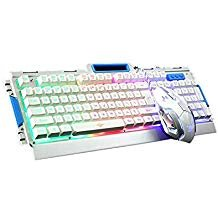 IREALIST LED Backlit Gaming Keyboard and Mouse Combo Bundle,  USB Wired  Illuminated  Keyboard with Rainbow Backlight 104-Key Anti-ghosting Game Keyboard ()