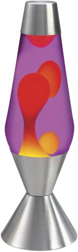 Chrome Lamp Lava (Lava the Original 16.3-Inch Silver Base Lamp with Yellow Wax in Purple Liquid)