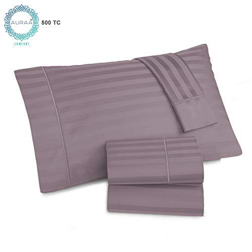 AURAA Comfort 500 Thread Count 100% American Supima Long Staple Cotton Sheet Set,4 Pc Set,Sateen Weave,Damask Stripe Sheet, Amazon, Fits Upto 16
