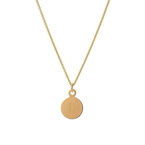 Initial 14k Yellow Gold Pendant - Tousi Gold Initial Necklace - Yellow Gold 14k-Custom Monogram Necklaces-Circle Pendant - Personalized Jewelry – Free Letter Engraving Nice Gift.