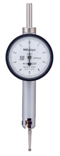 Mitutoyo 513-504 Pocket Type Dial Test Indicator, Basic Set, Horizontal Type, 0.375