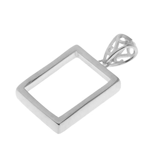 (Prettyia 925 Sterling Silver Rectangle Shape Pendants Blanks Base Cabochons Charms Bezel Settings Tray Jewelry Findings for DIY Necklaces Earrings Silver)