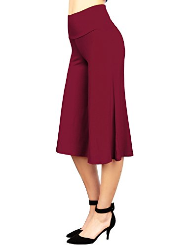 Knit Capris - Made By Johnny WB876 Womens Knit Culottes Pants L Wine