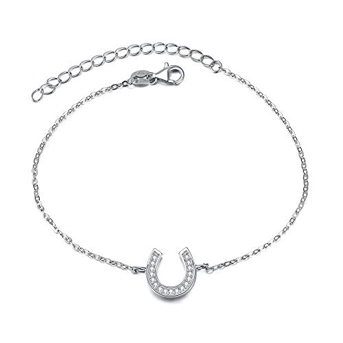- EVER FAITH 925 Sterling Silver Gorgeous CZ Daily Lucky Horseshoe Adjustable Link Bracelet Hand Chain