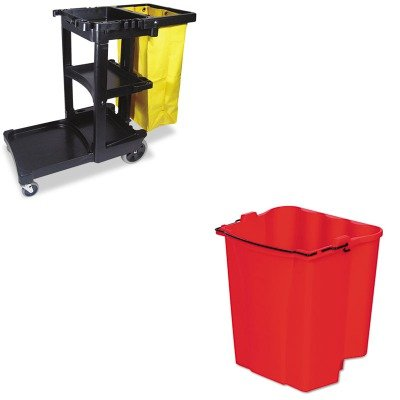 kitrcp617388bkrcp9 C74red – Valueキット – Rubbermaid Dirty水バケットfor WaveBrakeコンボ18 Quarts ( rcp9 C74red )とRubbermaidクリーニングカートwithファスナー付きイエロービニールバッグ、ブラック( rcp617388bk ) B00MOL9AK4