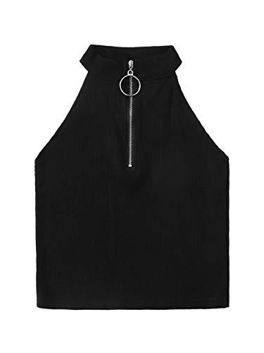 - SweatyRocks Women's Ribbed Knit Zipper Mock Neck Sleeveless Crop Tank Top Black M
