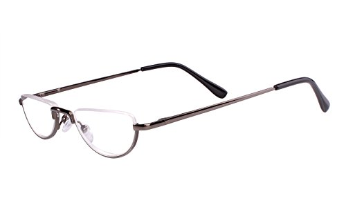 Beison Half Moon Readers Half Rimless Reading Glasses (Grey, - Reading Lens Glasses Men Half