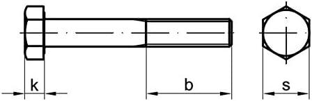 Stahl 2 Stk DIN 960 Sechskantschraube M16x1,5x160 Feingewinde mit Schaft