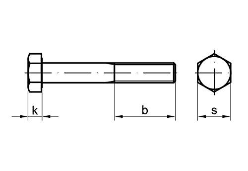 2 Stk DIN 960 Sechskantschraube M12x1,5x65 Feingewinde mit Schaft Stahl